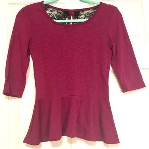 IZ Byer Peplum Purple Blouse Top with Lace Back S